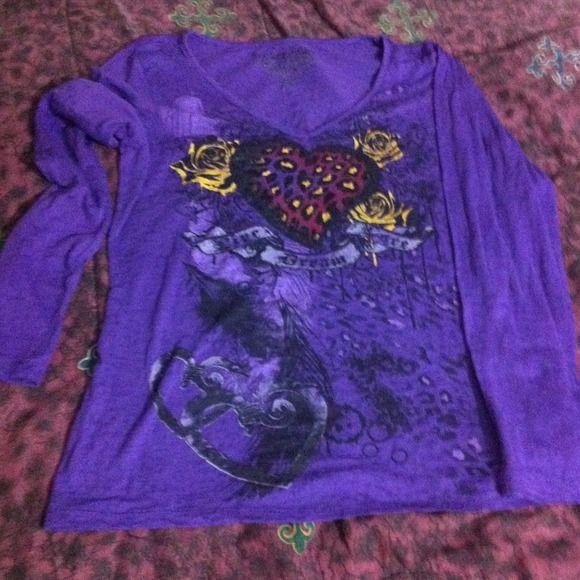 Sheer purple long sleeve top Sheer long sleeve top with glittery heart rocker girl Tops