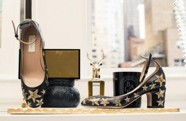 Inside The Closet of Haute Inhabit's founder, Lainy Hedaya:  Lainy Hedaya, on why she hated fashion growing up and why she can't stand lipstick. -- Black block heels with gold beaded stars.  | Coveteur.com