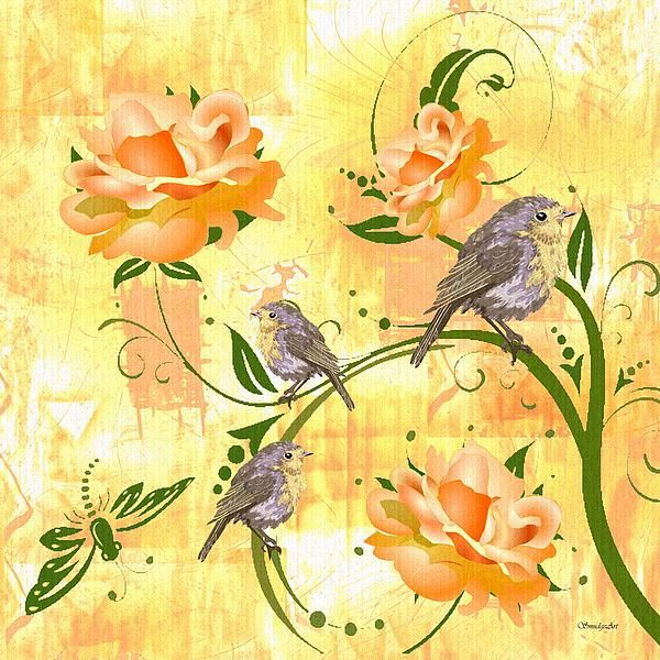 """A SmudgeArt Digital oil painting titled """"The Sparrow's Melody"""""""