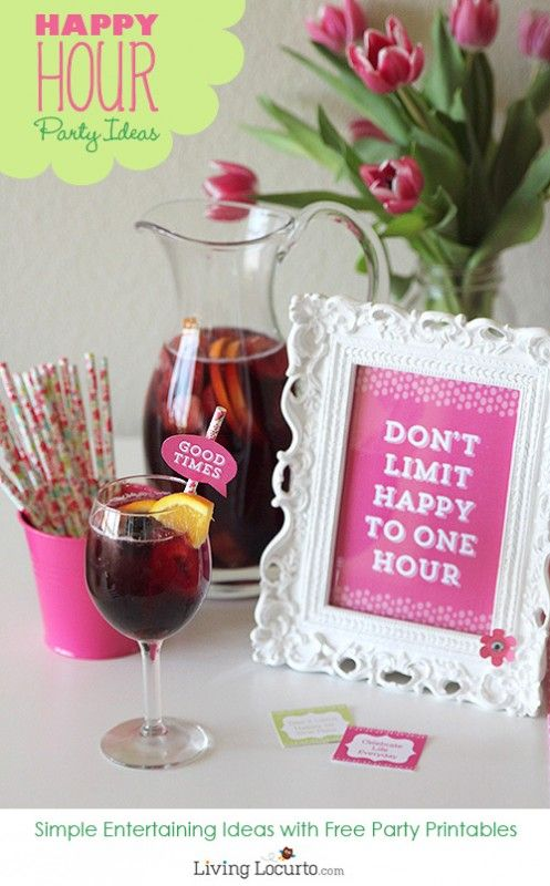 Happy Hour Party Ideas with Beautiful Free Printables And Tons of Simple Recipe ideas !
