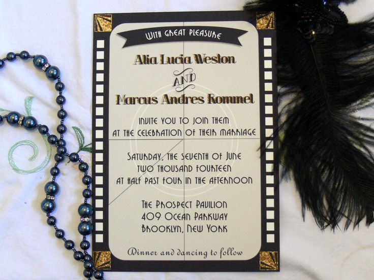 Old Hollywood Invitation (includes envelope), Hollywood themed wedding party, Movie theme invitation, Hollywood glamour, movie film reel by PaperColada on Etsy