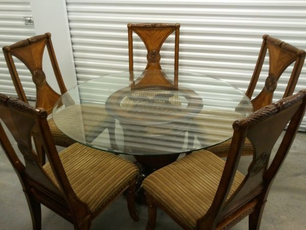 Austin Incredible 55 Round Glass Dining Room Table With 5 Chairs 800