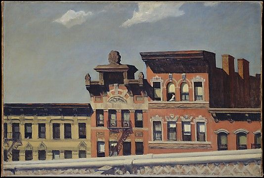 Edward Hopper (American, 1882–1967). From Williamsburg Bridge, 1928. The Metropolitan Museum of Art, New York. George A. Hearn Fund, 1937 (37.44)   In this city scene without noise or motion, the only person visible is a woman sitting in profile in a top-story window. #newyork #nyc