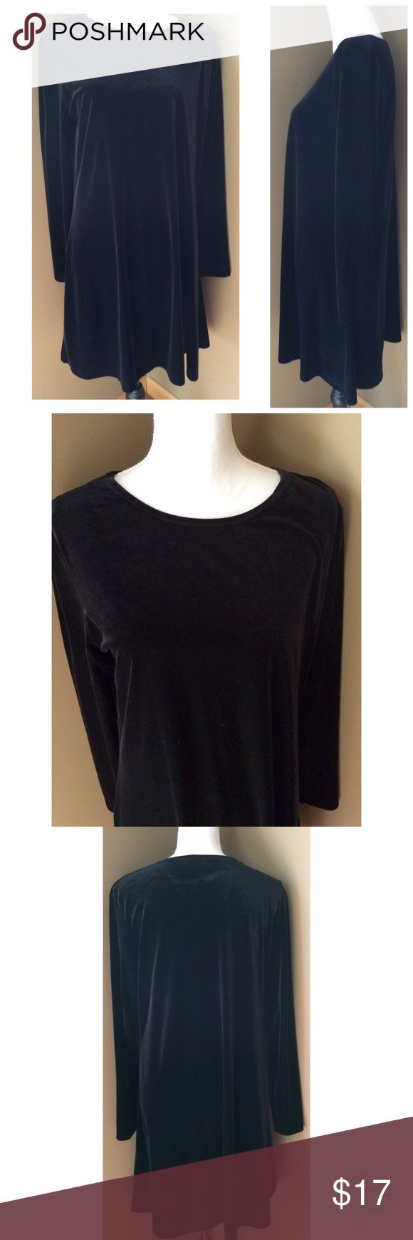 """Hunt Club Black Long Sleeve Velvet Pullover Dress Beautiful basic black dress from Hunt Club Good used condition - gently worn Long Sleeve, gently flared - crushed velvet Polyester/Spandex Size 10 --- Pit to Pit: 20"""" with stretch available --- Waist: 42"""" --- Length: 35"""" hunt club Dresses Long Sleeve"""
