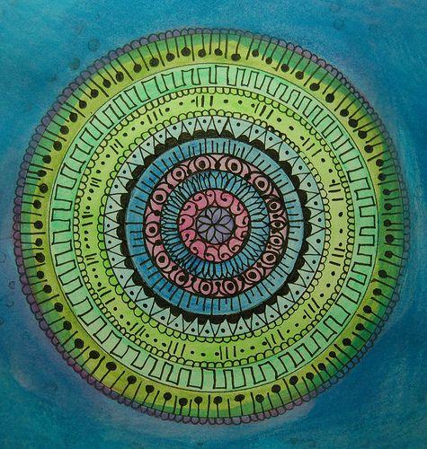 teal mandala: Ideas, Inspiration, Doodle, Blue, Color, Green, Mandalas, Zentangle