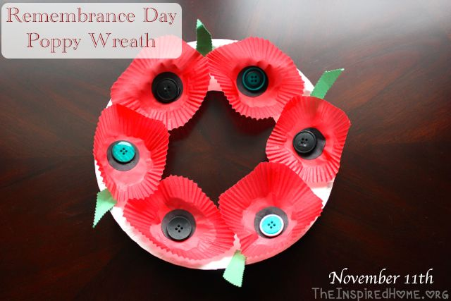 Remembrance day poppy wreath craft craft and poppy wreath for Veterans day crafts for preschoolers