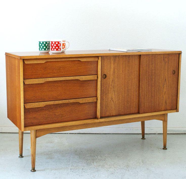 enfilade scandinave teck clair vintage des ann es 50 enfilade sideboard pinterest vintage. Black Bedroom Furniture Sets. Home Design Ideas