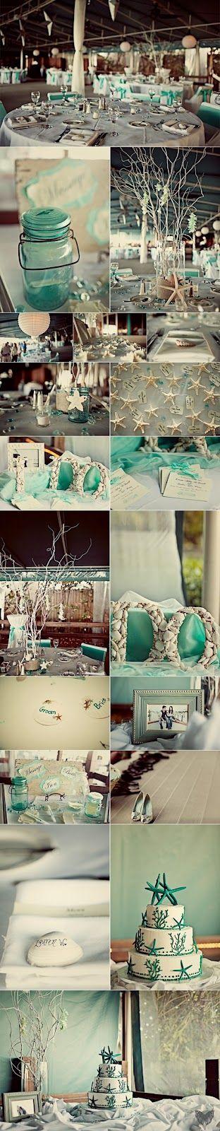 sea theme wedding inspiration palette aqua turquoise white