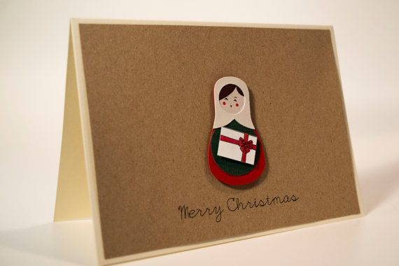 Unique handmade Christmas card/ Russian Doll, Matryoshka with a gift box and rhinestone, / 3D paper cut/ Kraft paper