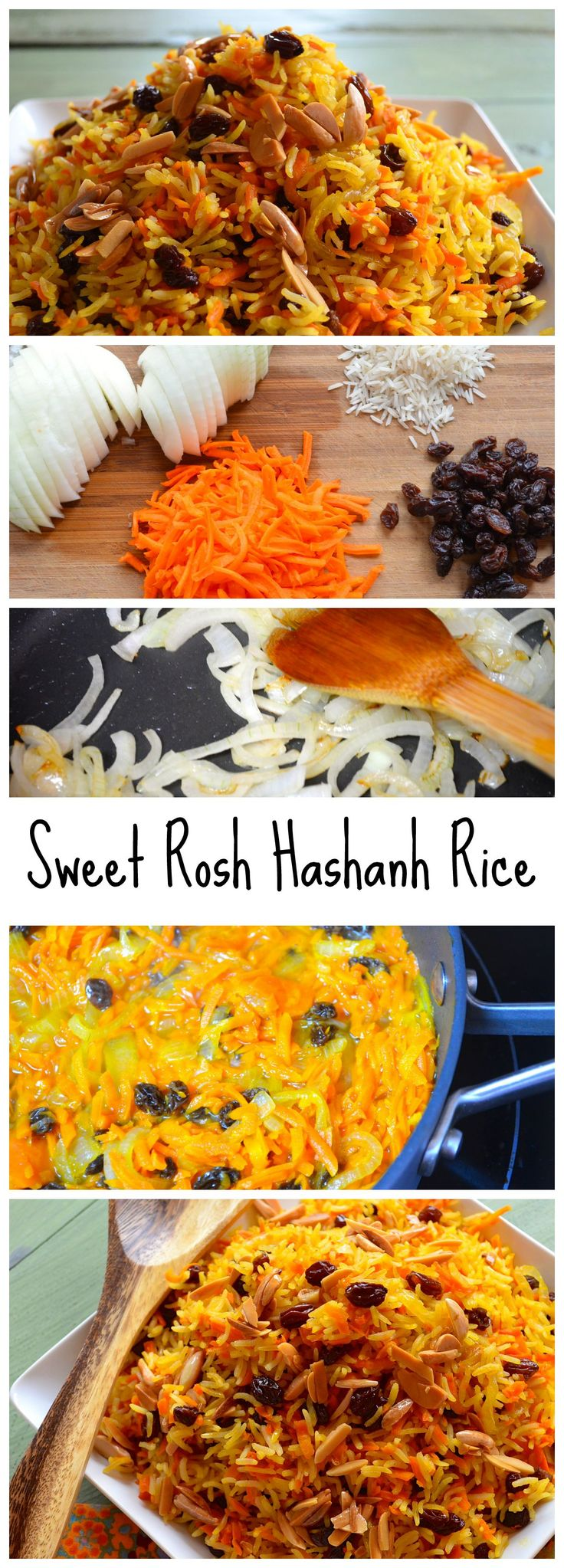 Sweet and fragrant basmati rice with carrots and raisins. The perfect vegetarian side dish for any holiday meal. In our house this is a Rosh Hashanah Favorite.