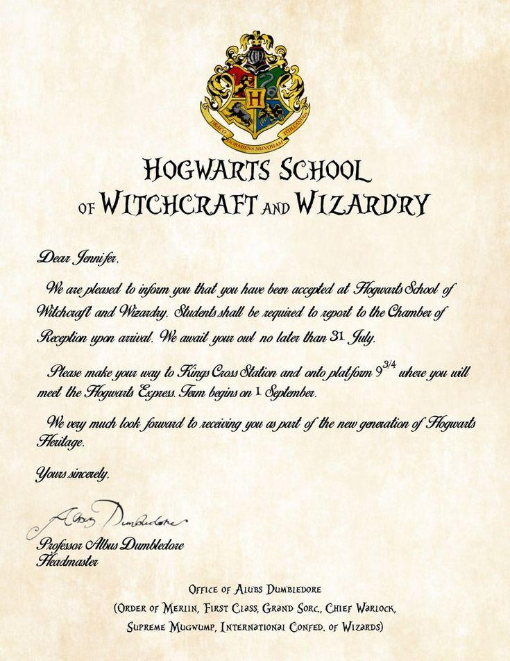 Personalized Harry Potter Acceptance Letter Hogwarts