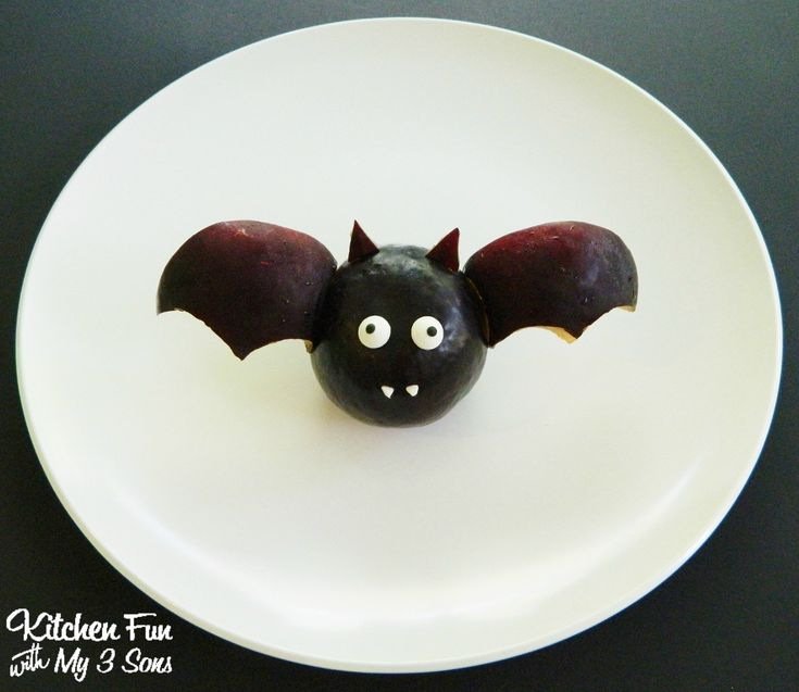 Halloween Fruit Bat made with Plums from KitchenFunWithMy3Sons.com