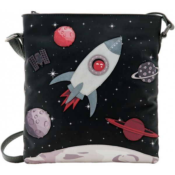 Yoshi Fly Me To The Moon Space Rocket Applique Leather Across Body Bag - £65.00 available from www.kubi.co.uk - Black leather across body bag - #space #rocket #rockets #moon #travel #flymetothemoon #yoshi #handbag #handbags #acrossbody #acrossbodybag #leatheracrossbodybag #bag #bags #leatherbag #leatherbags #leatherhandbag #leatherhandbags #spacetravel #planet #planets #blackhandbag #aw13