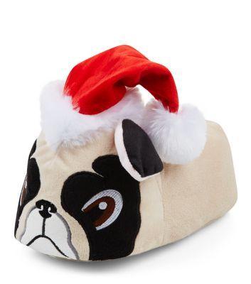 Stone Christmas Pug Slippers