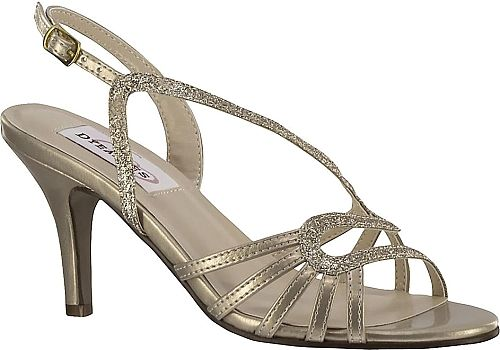 "Dyeables Women's Shoes in Champagne Color. This simple but classy sandal combines comfort with just the right amount of style. Shimmer material upper with glitter elements to contrast providing the perfect accent to the curved strap over the foot. Adjustable ankle strap with buckle. Lightly cushioned footbed. 2-5/8"" heel height"