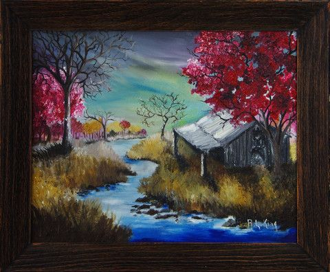 colorful oil painting framed