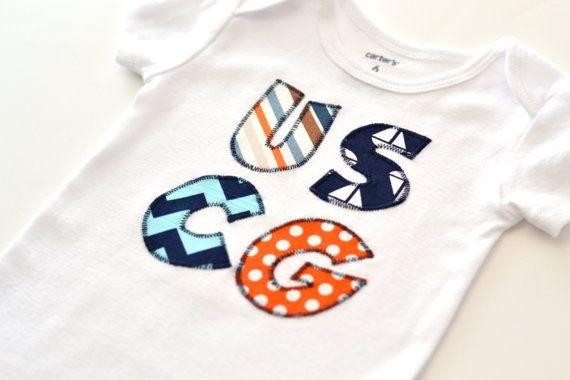 Coast Guard Baby, Coast Guard Appliqué, Coast Guard Bodysuit, Coast Guard Shirt, Coastie Appliqué, US Coast Guard - You choose the fabrics