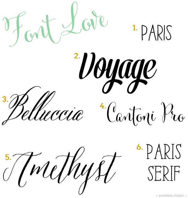 Font Love list by Michelle Mospens from Mospens Studio including Belluccia  and Cantoni calligraphy fonts by Debi Sementelli