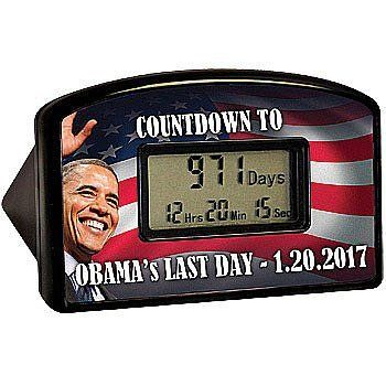 """Barack Obama Countdown Clock, 2017 Track the Final Day Right Down to the Min by Obama. $12.98. Approx 2.5"""" x 4"""".. It can be used as a desk clock.. Track the absolute final day, right down to the last minute in 2017.. Uses 2 AA batteries, not included.. Track the absolute final day, right down to the last minute, until the current administration leaves office. Reusable because the timer can be re-programmed or it can be used as a desk clock. Uses 2 AA batteries, no..."""