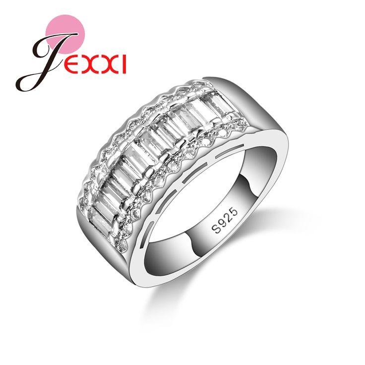 PATICO Einfache Design 925 Sterling Silber Luxus Ringe Für Frauen Vintage Elegante Zirkonia Bague Bijoux FemmeFinger Ring