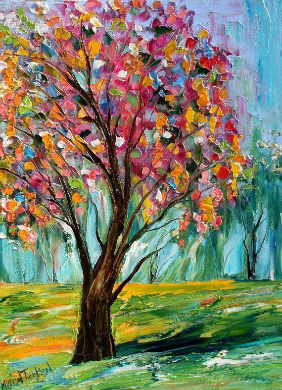 Pintura al óleo original de primavera paisaje de árboles por Karensfineart: