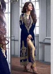 Bridal Wear Blue Velvet Embroidered Work Salwar Suit