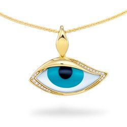 "Yellow Gold ""Mati"" Eye Pendant with Onyx, Turquoise, Mother of Pearl and Diamonds from Na Hoku"