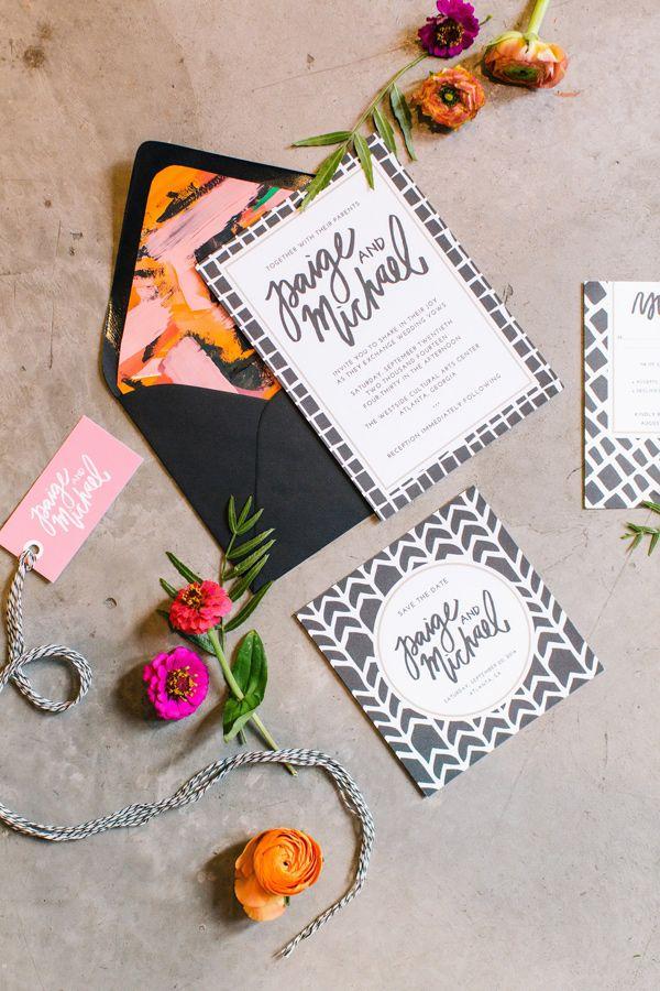 grey, white, and bright wedding invitation, photo by Vue Photography http://ruffledblog.com/pattern-play-wedding-inspiration #weddinginvitations #invitations #stationery