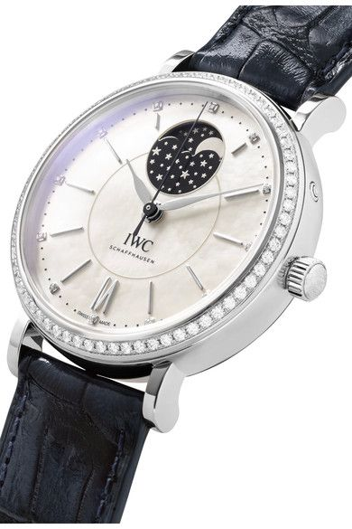 IWC SCHAFFHAUSEN - Portofino Automatic Moon Phase 37 Alligator, Stainless Steel, Mother-of-pearl And Diamond Watch - Silver - one size