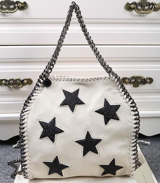 Stella McCartney Black Stars White Crossbody Bag Silver Chain - Replica Handbags