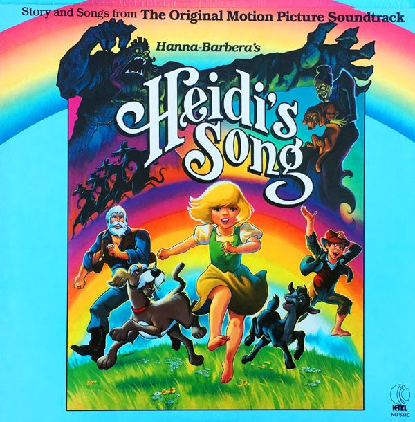 """Hanna-Barbera's HEIDI'S SONG Story and Songs from the Original Motion Picture Soundtrack  K-TEL Records NU-5310 (12"""" 33 1/3 RPM LP/ Stereo) K-Tel NU-5320 (Picture Disc) K-Tel KS-075 (Book & 7"""" 33 1/3 RPM Record Set)  Released in 1982. Feature Producers: William Hanna, Joseph Barbera. Feature Director: Robert Taylor. Album Producer: Paul DeKorte. Writers: Joseph Barbera, Jameson Brewer, Robert Taylor. Music Supervisor/Arranger/Conductor: Hoyt S. Curtin. Running Time: 43 minutes."""