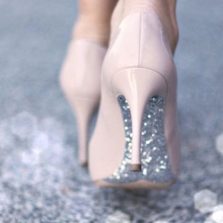 Light pink heels with sparkles on the bottoms
