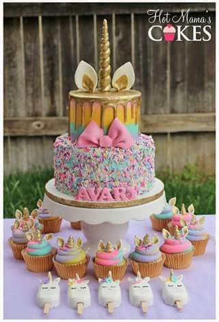 Unicorn cake and sweets