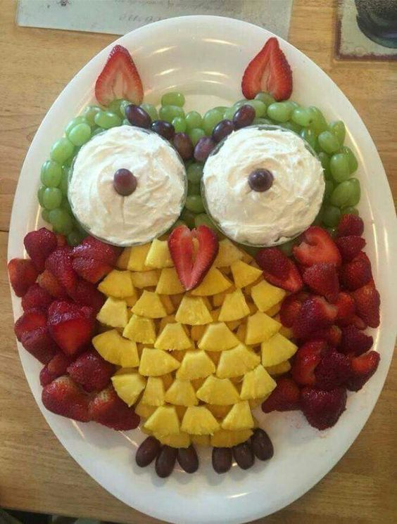 Owl fruit tray. also can use apples for the wings