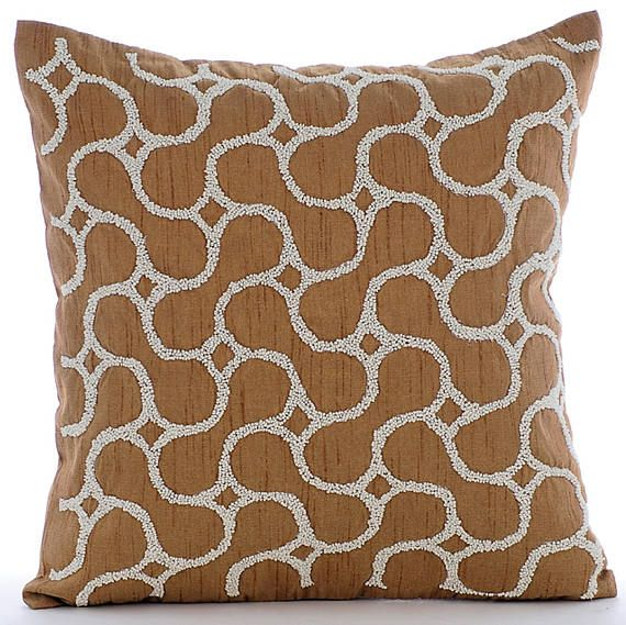 Handmade Gold Decorative Pillows Cover 16x16 Silk Pillows