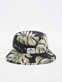 Penfield Palm Leaf Bucket Hat In Black And Green