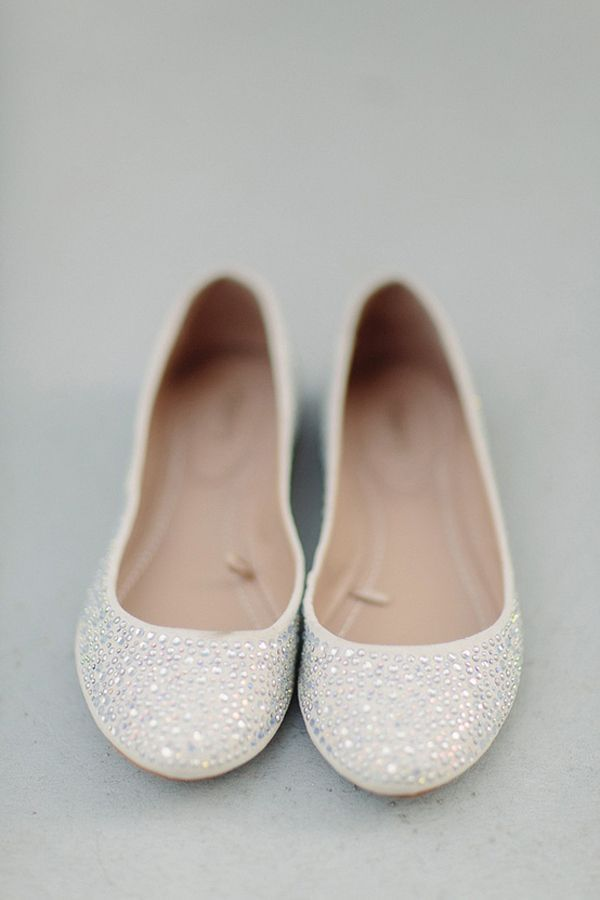 adorable bling shiny neutral colored flat wedding shoes