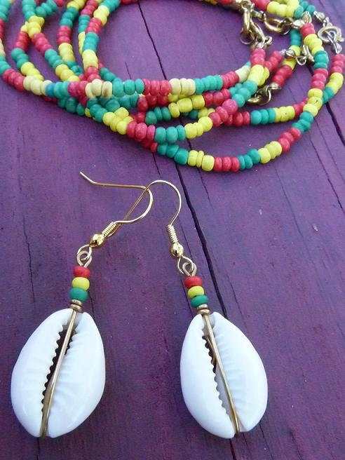 Cowrie Shell Earrings Bracelet Set Jamaican Colors By