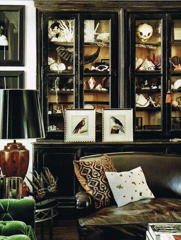 Cabinet of curiosities in the apartment of Mario Grauso & Serkan Sarier via Bazaar Mag