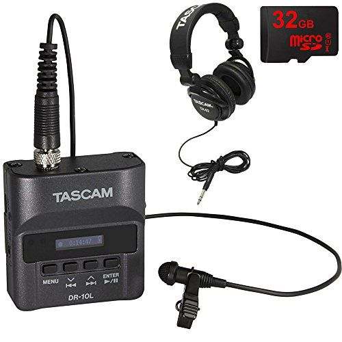 Tascam DR-10L Portable Digital Studio Recorder w/Lavaliere Microphone + 32GB Audio Bundle  Tascam Authorized Dealer Includes Full USA Tascam Warranty  Tascam DR-10L Portable Digital Studio Recorder with Lavaliere Microphone  Records to 48kHz/24-bit mono BWAV (Broadcast WAV) file format  32GB MicroSD High-Speed Memory Card  Tascam Closed-Back Professional Headphones (Black)