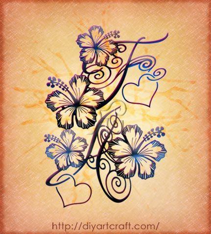 #hibiscus #tattoo #monogram FA ♥