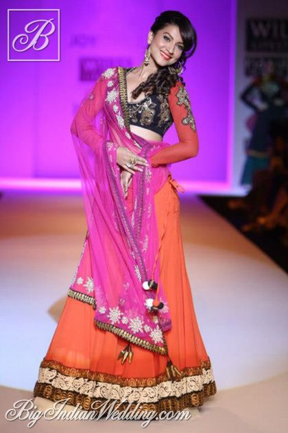 Gauhar Khan in a Joy Mitra lehenga
