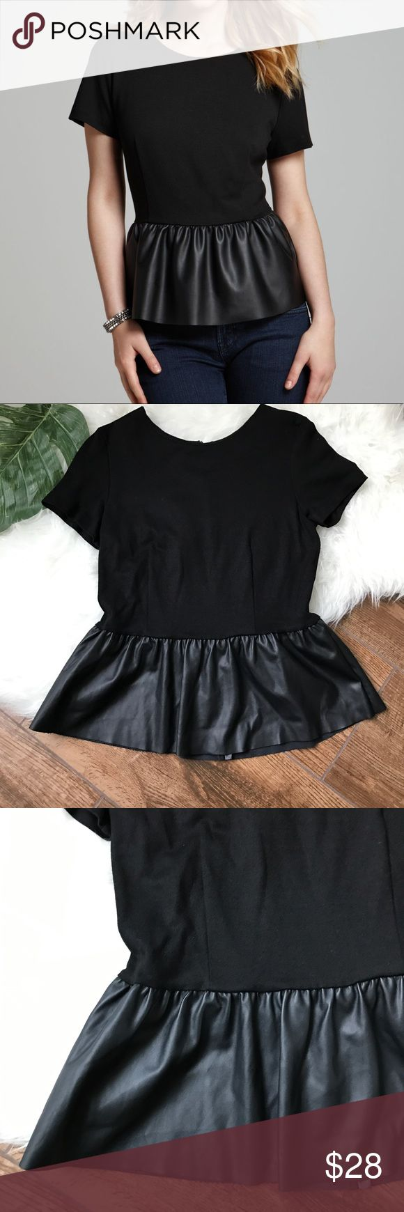 "French Connection • Black Faux Leather Peplum Top French Connection black peplum top with faux leather Contrast. Hidden back zipper. Perfect for the office, a night out or the holidays! Excellent condition- looks unworn.   ▪️Length 23.5"" ▪️Pit to pit 16""  No Trades!! 1121vt French Connection Tops"
