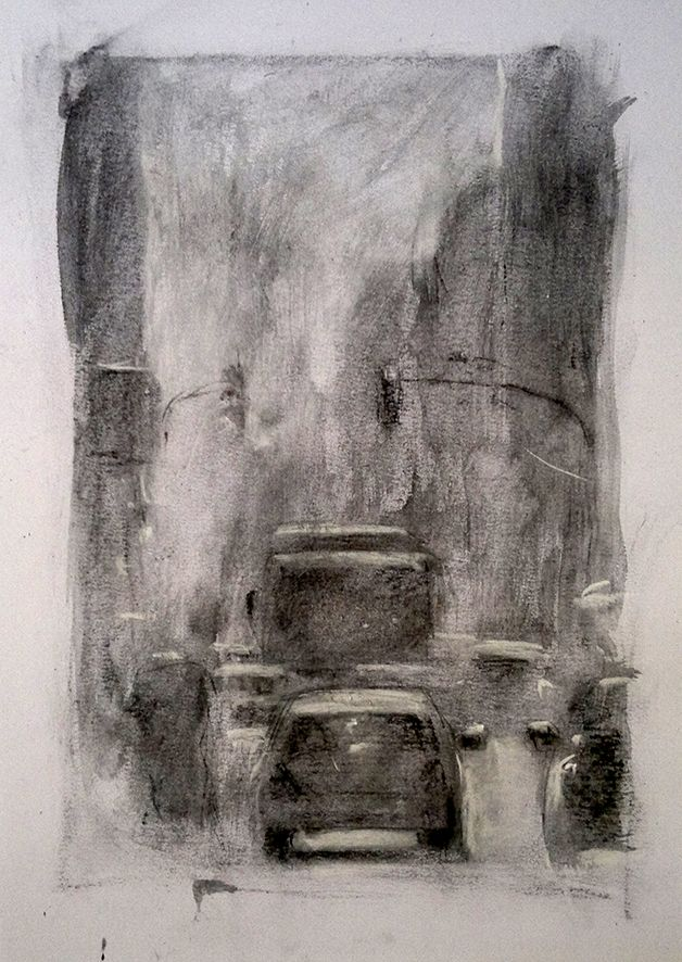 TRAFFIC. 40x28 cm. Charcoal. E. Pitarch © 2015. All rights reserved.