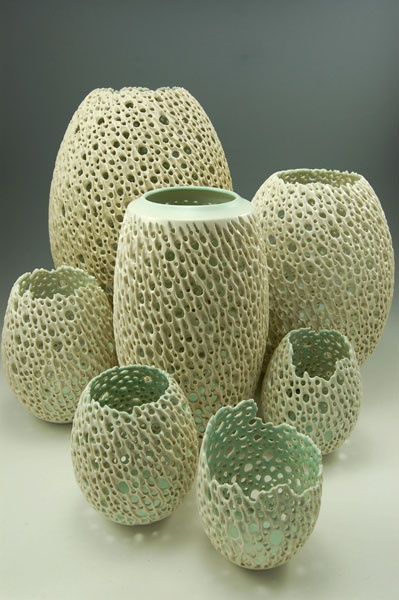 Beautiful ceramic filigree work...could it be done with gourds? Simon Van Der Ven Studios
