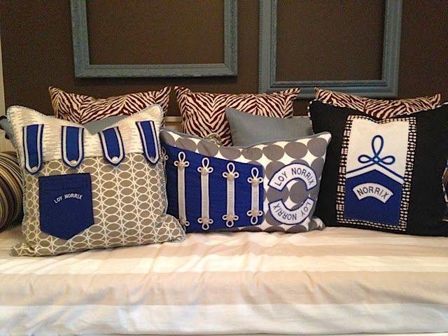 Custom pillows; old band uniforms. Room Rx design blog.