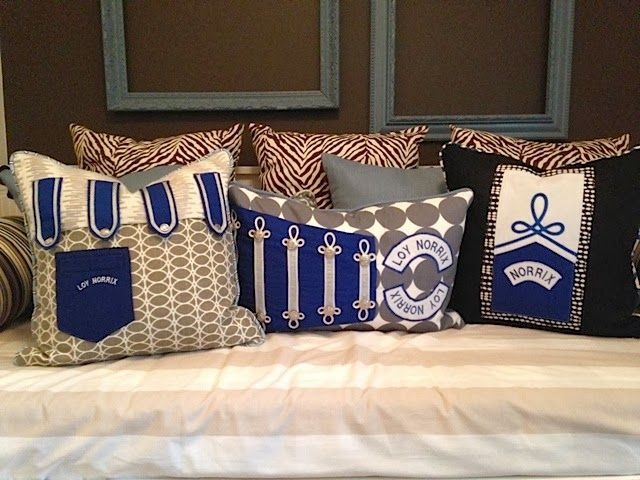 Custom pillows; old band uniforms. Room Rx design blog.