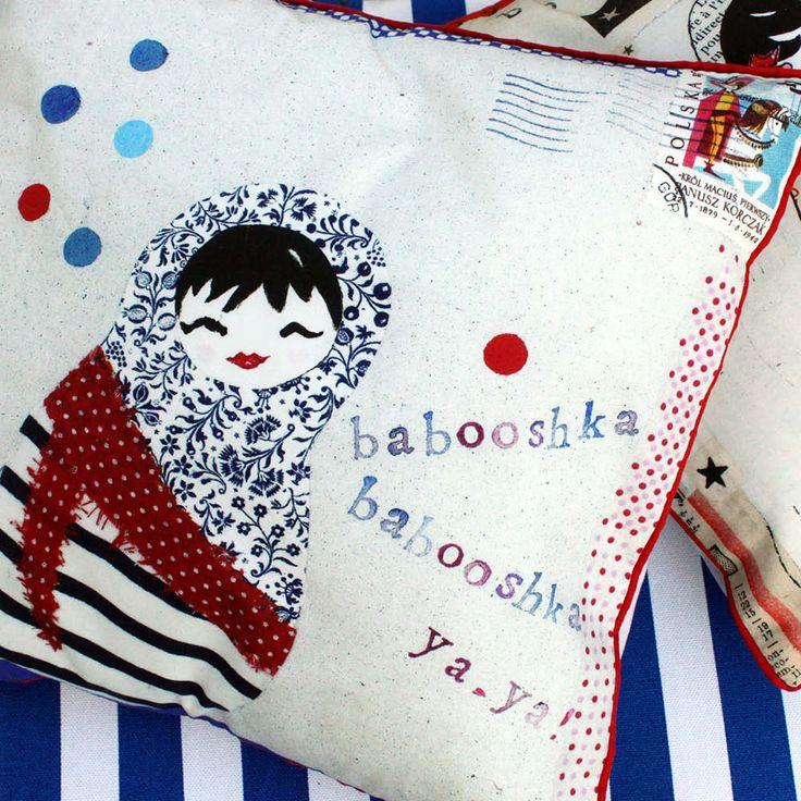 "Coussin deco ""Babooshka ya-ya"" Les Petites Kasko  http://www.lespetiteskasko.com/"
