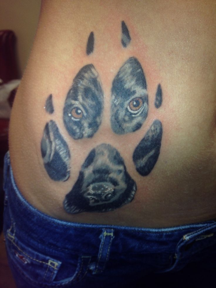 My new tattoo! I put my black labs face in the paw print as a memorial.