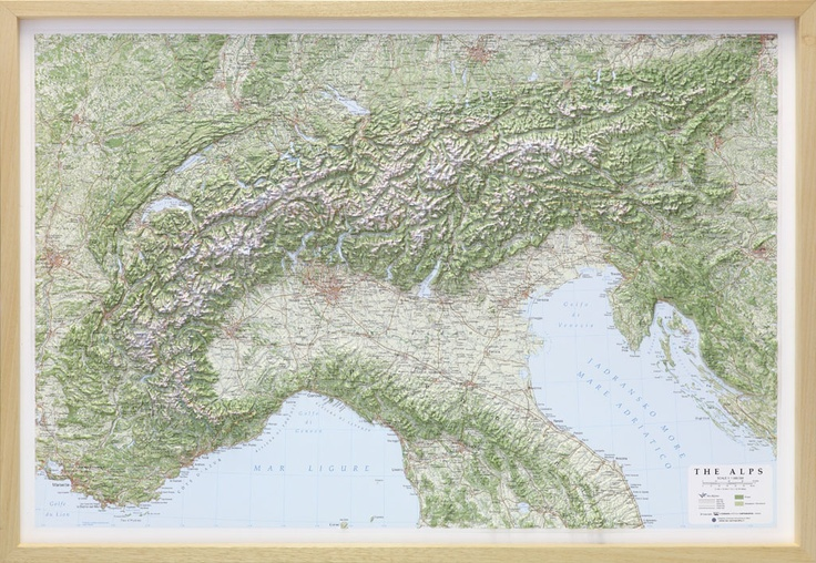 Raised Relief Map of the Alps. For Mountain lovers!